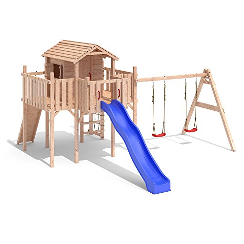 terrizio maxi baumhaus schaukel kletterturm rutsche holz stelzenhaus spielturm einfacher. Black Bedroom Furniture Sets. Home Design Ideas