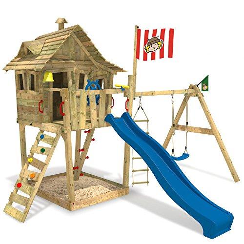wickey spielturm monkey island kinder spielhaus schaukel sandkasten blaue rutsche wikinger. Black Bedroom Furniture Sets. Home Design Ideas