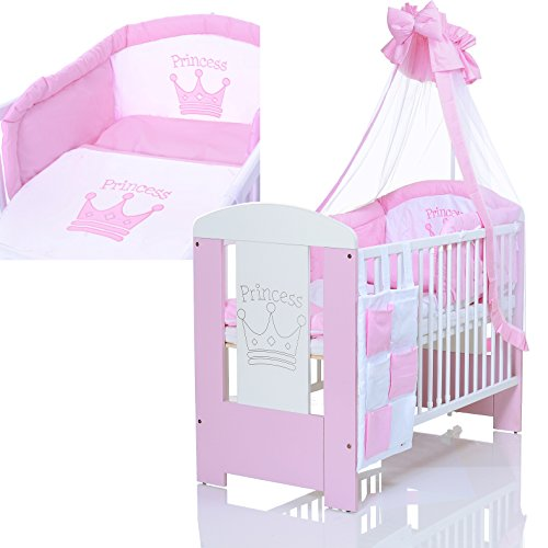 baby kinderbett 120x60 cm komplettset princess weiss rosa mit 9 teiligen bettw sche. Black Bedroom Furniture Sets. Home Design Ideas