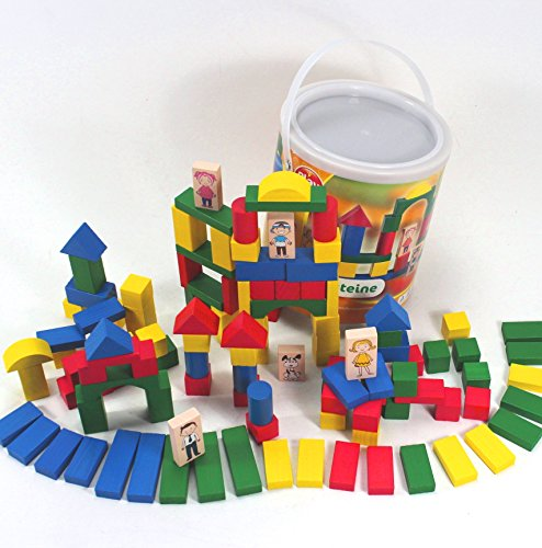 gro e bausteine spieltrommel holz 120 teile mit monster figuren kinder holzspielzeug 1 5 jahre. Black Bedroom Furniture Sets. Home Design Ideas